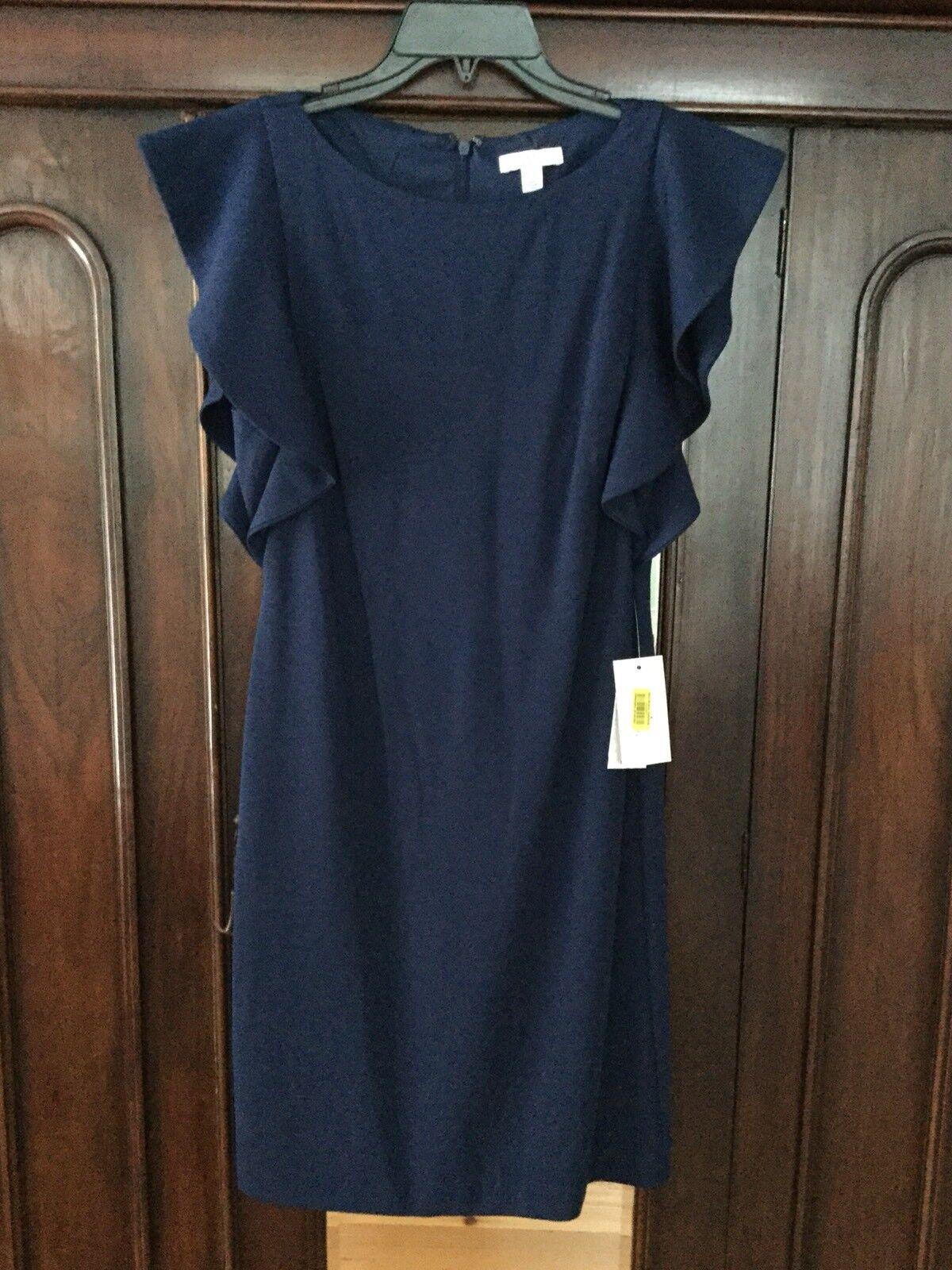 NWT Halston Sheath Dress With Flutter Sleeve, Navy, Navy, Navy, Size 6 55889a