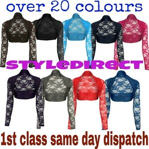 20-COLOURS-LADIES-LACE-LONG-SLEEVE-BOLERO-SHRUG-WOMWN-CARDIGAN-TOP-SIZE-UK-8-12