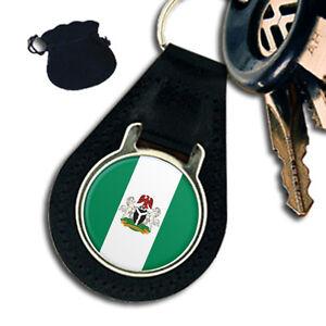 NIGERIA-NIGERIAN-FLAG-COAT-OF-ARMS-LEATHER-KEYRING-KEYFOB