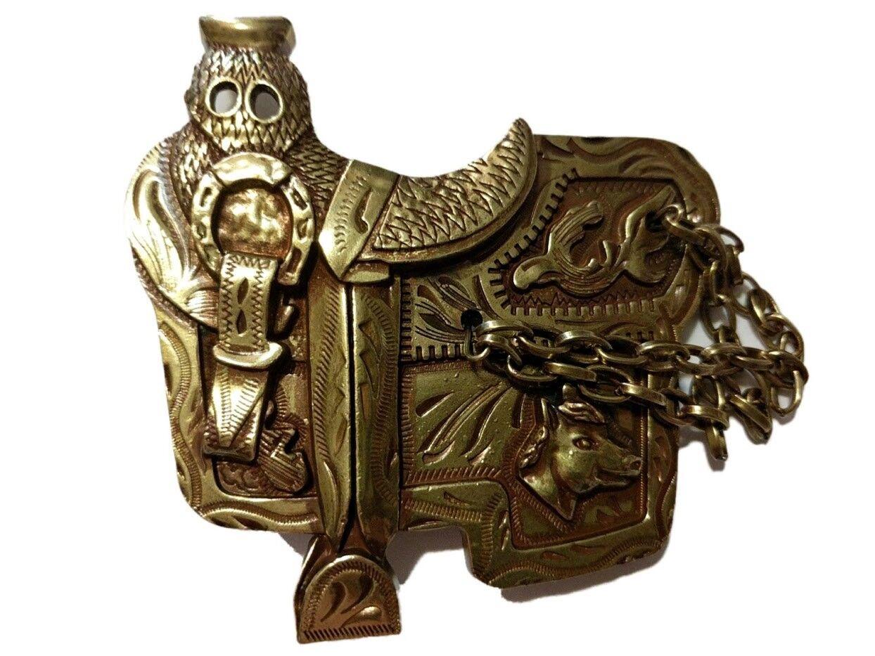 ✖ WESTERN Steer Saddle Cowboy Rodeo Style ✖ Belt Buckle Buck ✖ Gold / bronze USA
