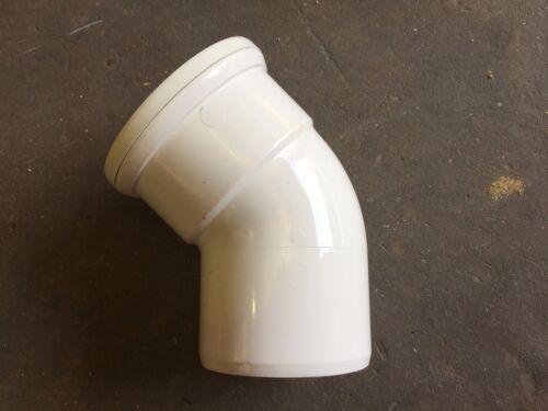 White uPVC Soil Pipe 110mm 45deg Single Socket Bend