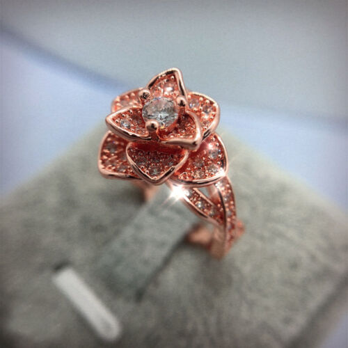 Infinity Ladies Sparking 925 Silver White Topaz Rose Flower Ring Wedding Jewelry