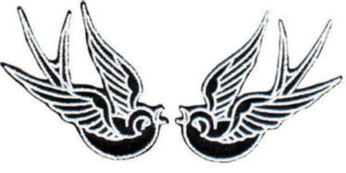 SWALLOWS SPARROWS EMBROIDERED PATCHES rockabilly psychobilly tattoo greaser art
