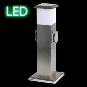 Steckdosensaeule-Gartensteckdose-2X-Steckdose-LED-Licht-Energiesaeule