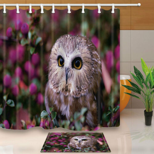 Animal Owl With Flower Bathroom Fabric Shower Curtain Set With Hooks 71Inches
