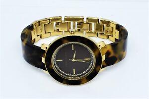 Anne-Klein-AK-1972-Tortoise-Gold-Swarovski-Crystal-Women-Watch-New-Battery