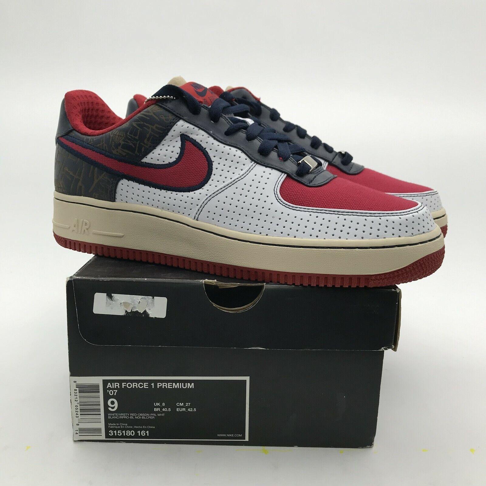 2007 Nike Air Force 1 Low Premium '07 White Varsity Red NEW 315180-161 US 9