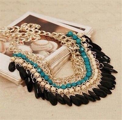 Fashion Women Crystal Pendant Chunky Statement Bib Chain Choker Necklace New
