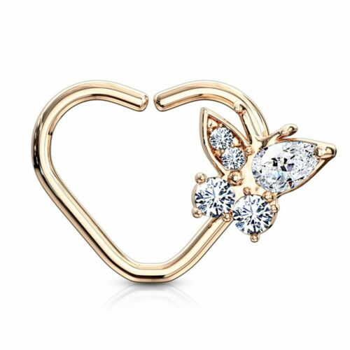 Details about  /Piercing Cartilage Daith Ring Heart Gold Plated Pink Butterfly