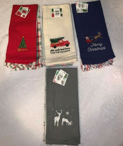 Holiday 3 Kitchen Towels Holidays Christmas Believe Merry Christmas Reindee NWT