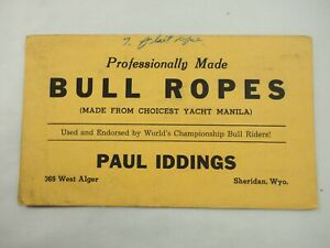 Professionally Made Bull Ropes Paul Iddings Advertising Card with receipt