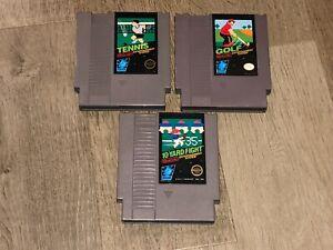 Tennis-10-Yard-Fight-amp-Golf-Nintendo-Nes-3-Game-Lot-Authentic