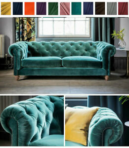 Details about Classic Chesterfield Sofa, Teal Plush Velvet, 3 2 1 Seater  Settee Fabric Couch