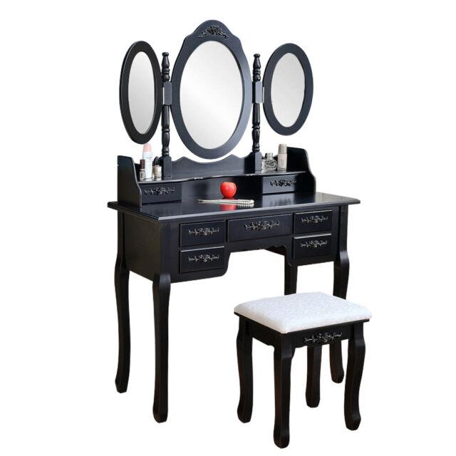 Black Tri-Folding Mirror Vanity Set 7 Drawers Dressing Table Makeup Desk & Stool