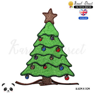 Christmas-Tree-Xmas-Embroidered-Iron-On-Sew-On-Patch-Badge-For-Clothes-etc