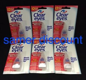 6 PACK CLEAR EYES DROPS REDNESS RELIEF DRY EYES 0.2 OZ .6 ML LOT Packs EXP 2020*