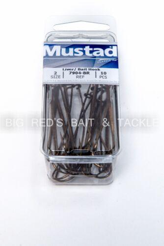 Mustad 7904 Sz 2 Classic Double Live Bait//foie Crochet Avec Extra Long Shank