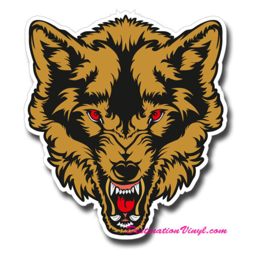 Angry Wolf Cool Guitar Wall Laptop Decal #0130 2 x Glossy Vinyl Stickers