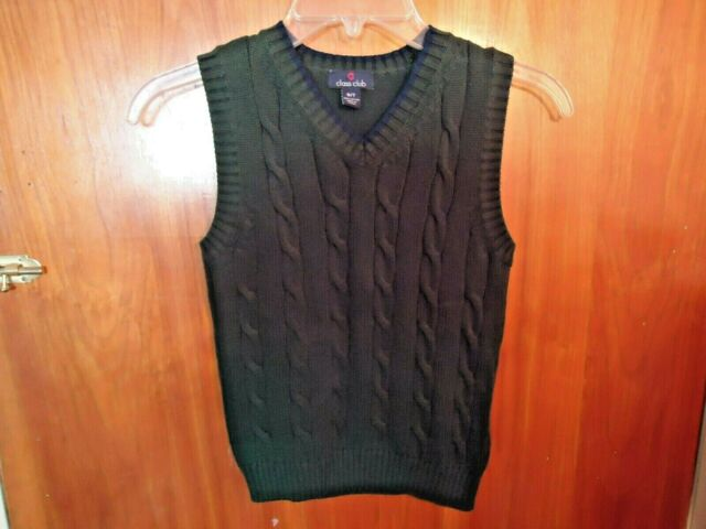 Boys Class Club Size 6 / 7 Green Cable Knit Vest