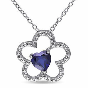 Pink-Sterling-Silver-Heart-cut-Created-Blue-Sapphire-Flower-Pendant-Necklace