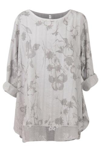 Ladies Floral Print Top Womens Tunic Lagenlook Cotton Dress Shirt Crochet Hem