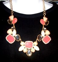 Macy's I-n-c Necklace 16 Gold Tone W/ Pink, Red, Blue Beads & Rhinestones