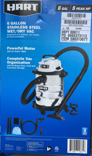 Hart 6 Gallon 5 Horse Stainless Steel Tank Wet Dry Vac