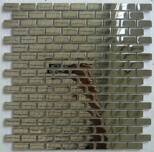 1 qm - Glasmosaik Edelstahlmosaik Mosaik Metall Effekt Fliese silber glänzend