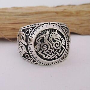Keltischer-Knoten-Ring-Silber-925er-Herren-Wikinger-Reiter-Pferd-Siegelring