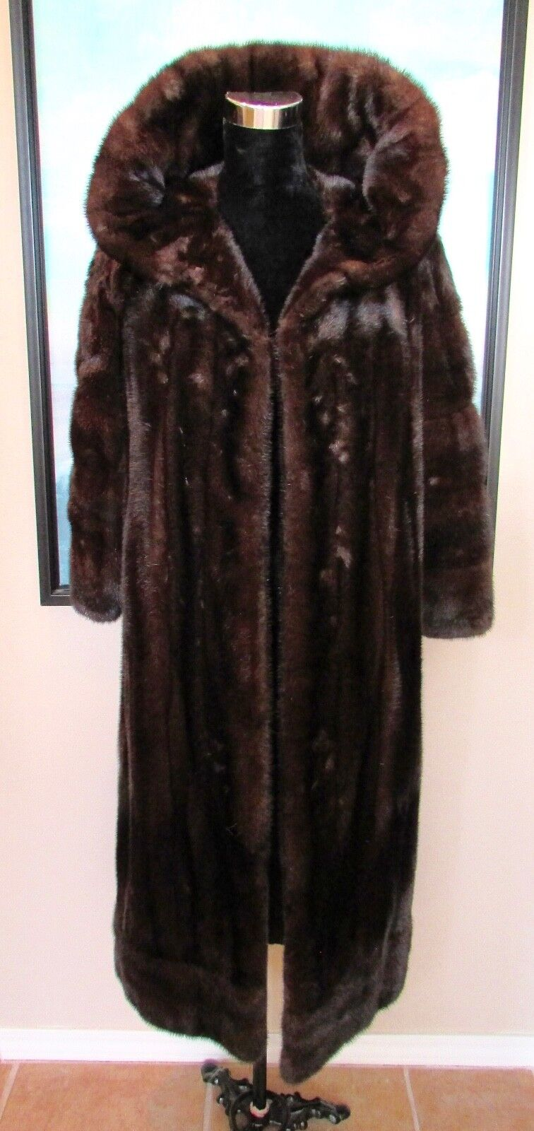 REVILLON SAKS FIFTH AVE Brown Full Length Mink Coat Dramatic Collar Sz XS S