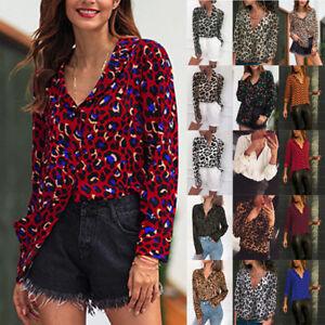 Simple Women V Neck Ladies Leopard Print Long Sleeve Loose T Shirt ... 2d73dc426