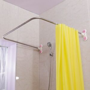 Image Is Loading Suction Cups Curved Shower Curtain Rod U Shape