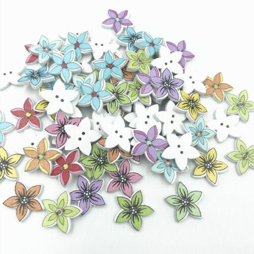 DIY Holzknöpfe Blume Nähen Holzknöpfe Scrapbooking Handwerk 19mm