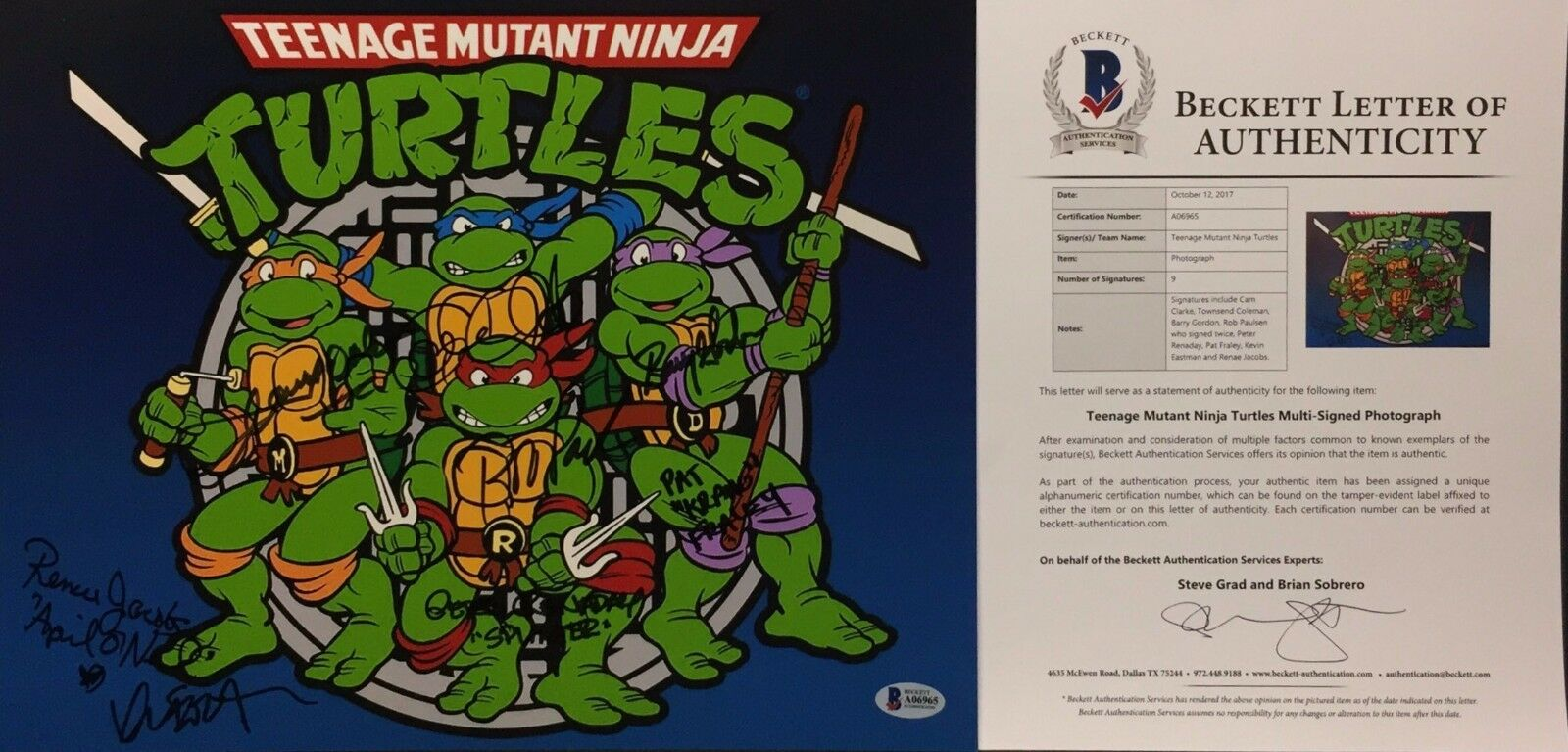 Cam Clarke T. Coleman Gordon Paulsen Fraley Signed Ninja Turtles 11x14 Photo BAS