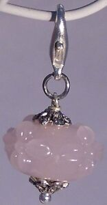 Charm-Blume-Flower-Lampwork-Glas-Perle-rosa-silber-Armband-AH290