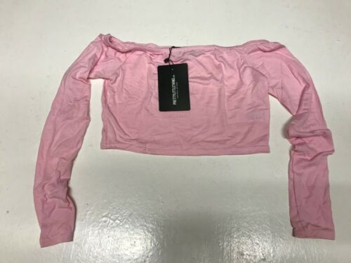 jojo14 PRETTY LITTLE THING Baby Pink Long Sleeve Jersey BardotTop