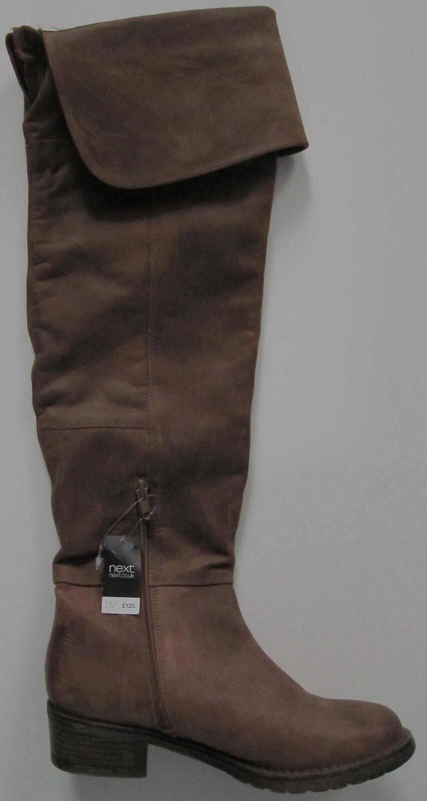 New Damenschuhe Braun Leder NEXT Stiefel Größe 3