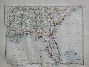 Florida And Georgia Map.1900 Victorian Map United States South East Florida Georgia Alabama