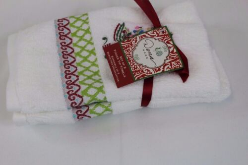 New Dena Peppermint Christmas Tree Embroidered Set of 2 Fingertip Towels White