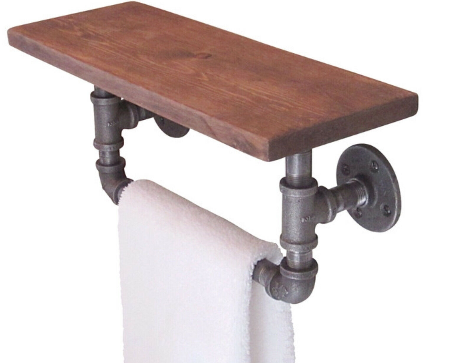 Industrial Pipe Bathroom Hand Towel Rail With A Floating Floating Floating Shelf a30ae5