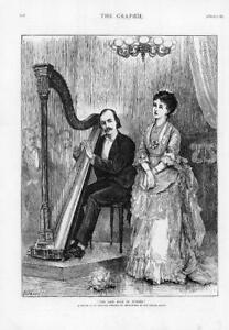1874-Antique-Print-FINE-ART-Last-Rose-Summer-Imperial-Concert-Harp-147