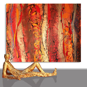 Details About Abstract Painting Interior Design Red Brown Gold Art Paintings Unique 78 X 55