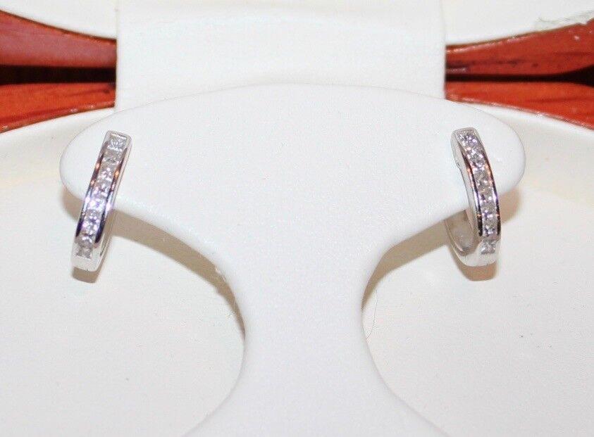 COSTCO 14k White gold Diamond Hoop Earrings .47ctw