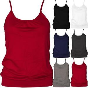 Ladies-Bubble-Gathered-Round-Neck-Cami-Swing-Vest-Tank-Top-Camisole-Strappy