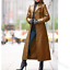 Womens Occident Coat Jacket Leather Long Warm Slim Fit Lapel Trench Coats winter