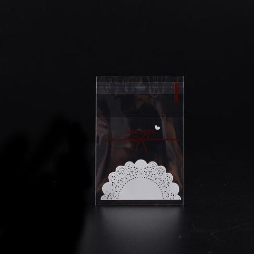 100pcs weiße Spitze-selbstklebende Plastiktaschen für handgemachten Kekssnack ZP
