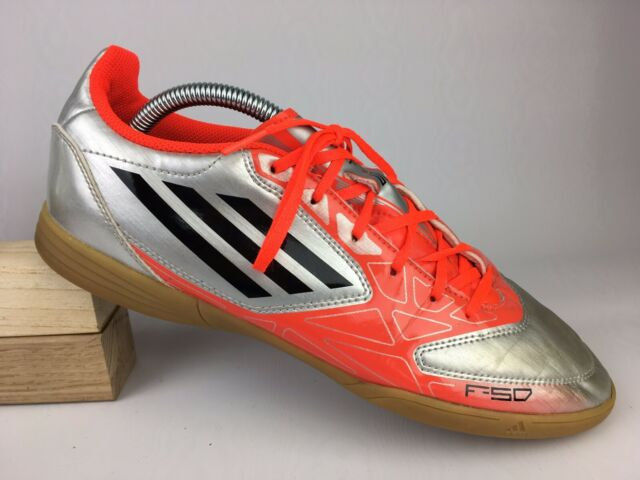Adidas Mens Silver Orange Black F5 Indoor Soccer Sneaker Shoes G61504 Sz 10 US