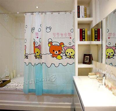 12 Hooks Waterproof Fabric Cute Household Rilakkuma Bathroom Shower Curtain  With e65474fa7