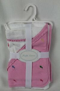 POLO 2pc GIFT SET BABY HOODED TOWEL w WASHCLOTH White Blue /& Pink NEW
