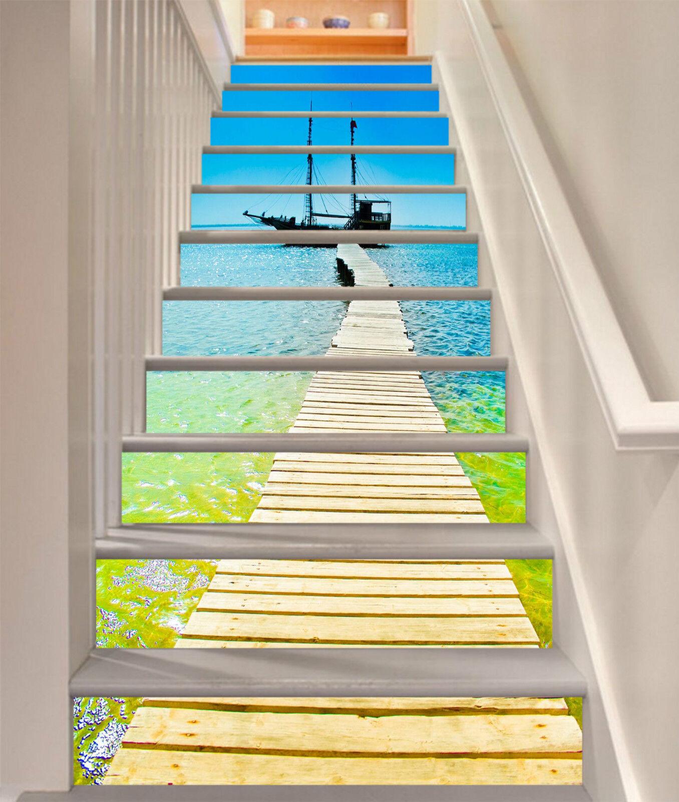 3D Meer Brücke 0018 Stair Risers Dekoration Fototapete Vinyl Aufkleber Tapete DE